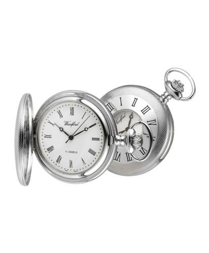 Mechanical Chrome Plated Patterned Half Hunter Pocket Watch With Chain